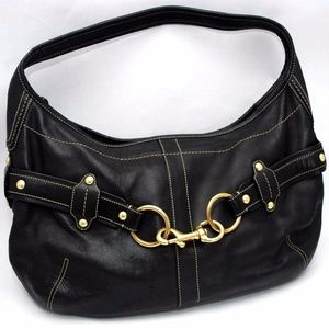 Coach Ergo Black Leather Studded Belt Hobo Bag